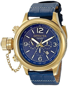 Invicta Men's Russian Diver Lefty Chronograph Dark Blue Dial Leather Watch 18577