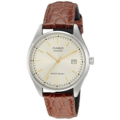 Casio Men's MTP1175E-9A Gold Leather Quartz Watch with Gold Dial