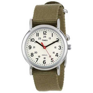 Timex Women's T2P2289J Weekender Olive Slip-Thru Nylon Strap Watch