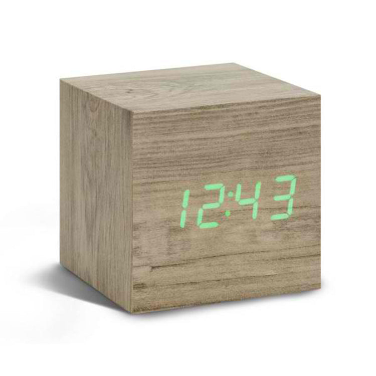 Gingko Ash Cube Digital Click Clock/Green LED Alarm Clock GK08G12