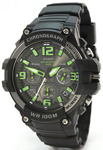 Casio Men's Heavy Duty-Design Chronograph Black Watch MCW100H-3AV