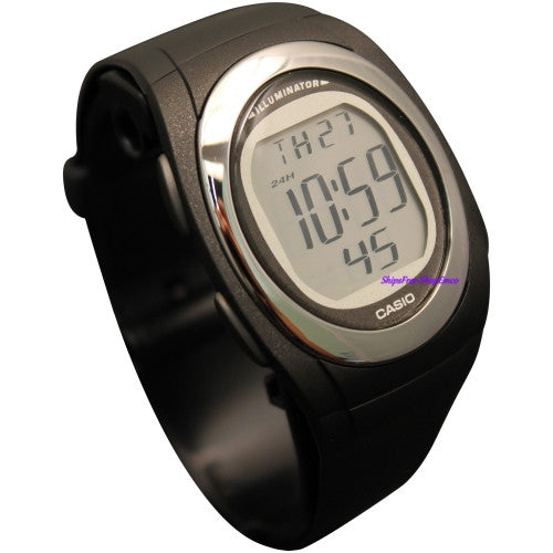 CASIO MEN'S BLACK DIGITAL ALARM WATCH ILLUMINATOR FE10