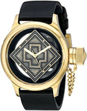 Invicta Men's Russian Diver Gold Tone Case Black Leather Watch 14775