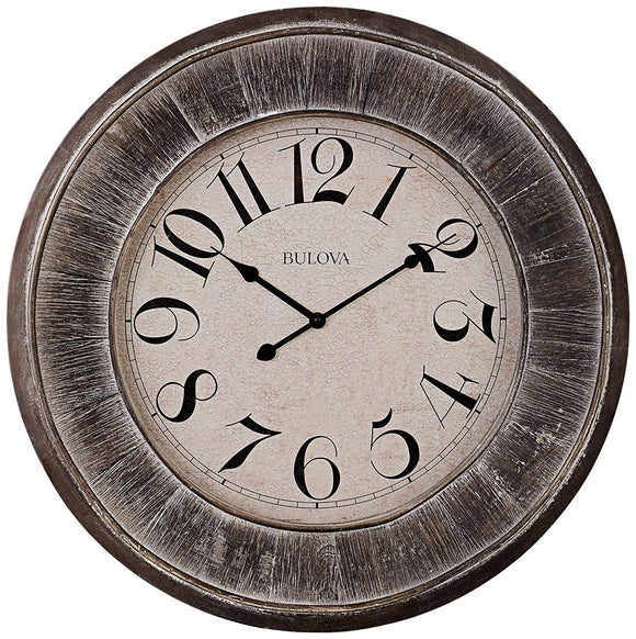 Bulova Restoration Grey Weathered Finish Wall Clock C4840