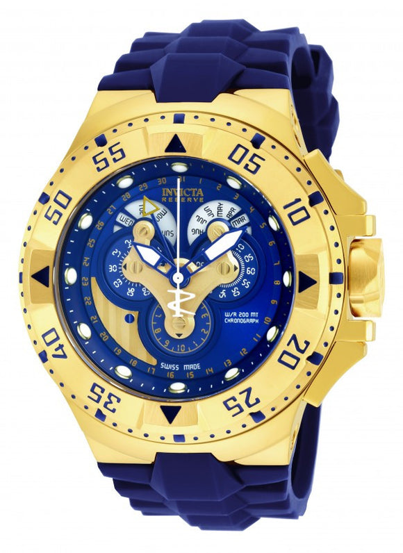 Invicta Men's Excursion Chronograph Gold Plated Blue Silicone Watch 18558