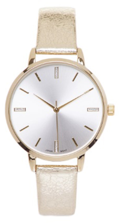 Geneva Platinum Women's Quartz Stainless Steel/Faux Leather Watch 10211GOLD