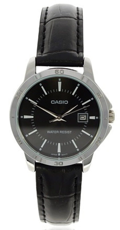 Casio Women's Analog Quartz Stainless Steel Black Leather Watch LTP-V004L-1A