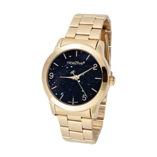 Nine2Five Women's Pearly Black Dial Gold Tone Stainless Steel Watch APRY08GLNG