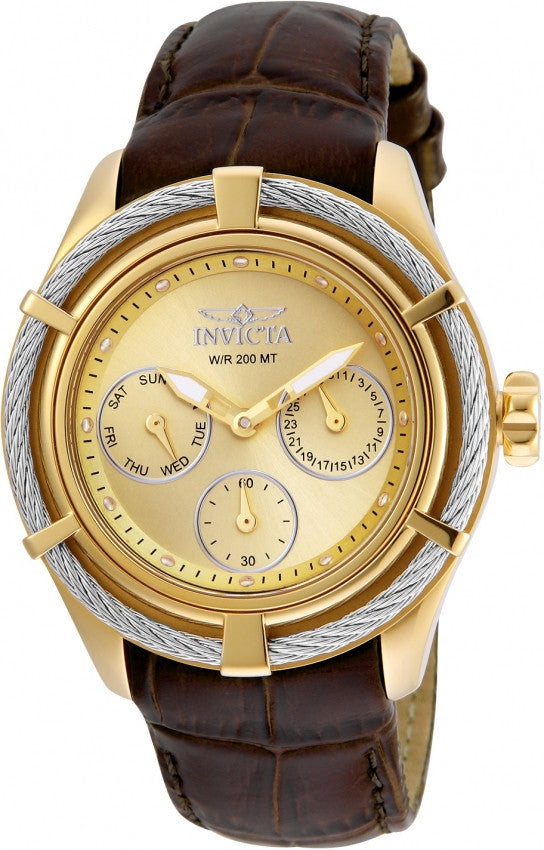 Invicta Women's Bolt Chronograph 200m Stainless Steel Brown Leather Watch 24458