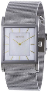 Bering Women's Classic Mother of Pearl Silver Tone Square Watch 10426-010