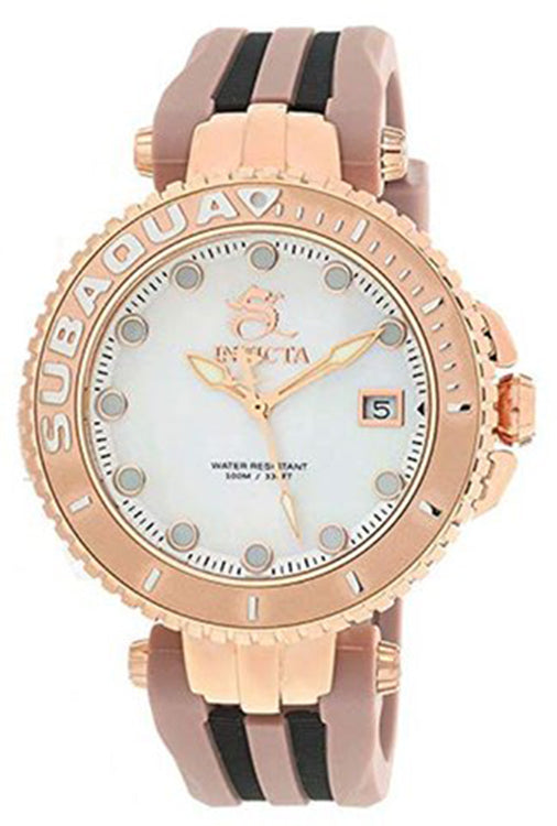 Invicta Women's Subaqua Quartz 100m Stainless Steel/Brown Silicone Watch 27354
