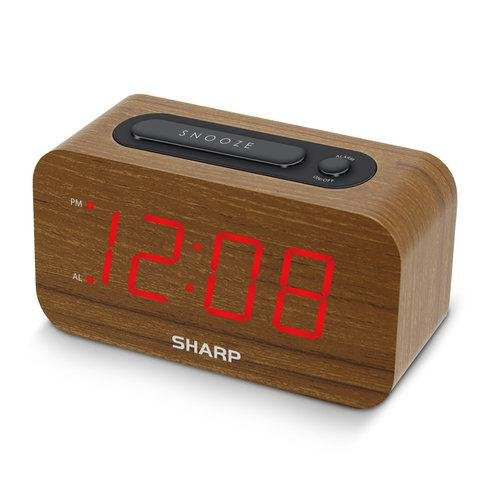 "Sharp 1.2"" Red LED Woodgrain Snooze Alarm Clock SPC692"