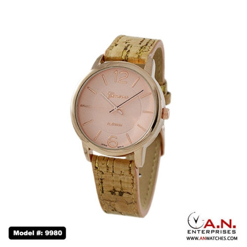Geneva Wood Look Leather Watch with Rose Gold Dial 9980