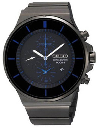 Seiko Men's Chronograph Black & Blue Stainless Steel Watch SNDD59