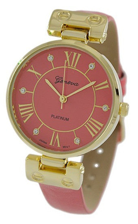 Geneva Platinum Women's Gold Tone S. Steel Strawberry Faux Leather Watch 9881