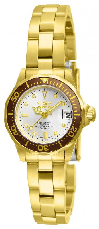 Invicta Women's Pro Diver 200m Quartz Gold Plated Stainless Steel Watch 12525