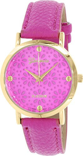 Geneva Platinum Women's Stainless Steel Casual Watch w/ Magenta Leather Strap 4934.