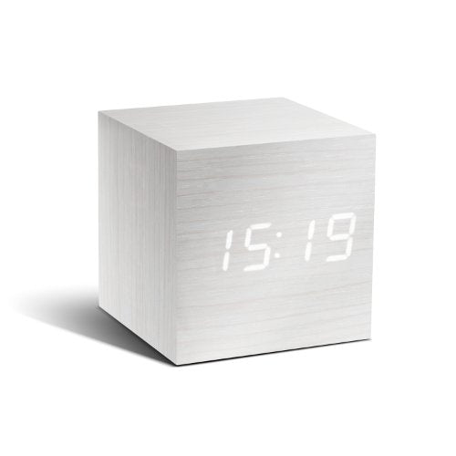 Gingko Cube Click Clock White LED Alarm Clock
