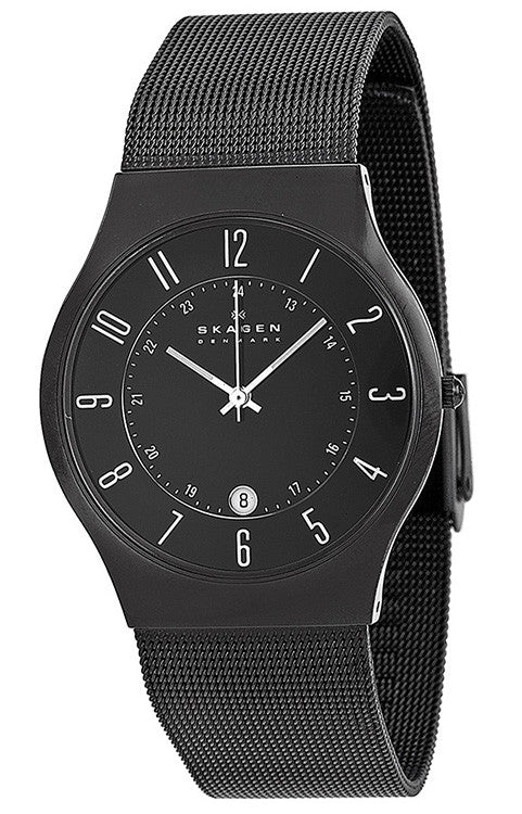 Skagen Men's Grenen Black Titanium Case Stainless Steel Mesh Watch 233XLTMB