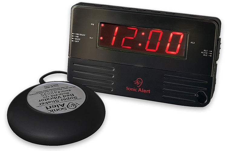 Sonic Alert Black Travel Shaking Vibrating Alarm Clock SB200