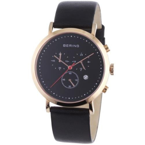 Bering Men's Classic Chronograph Rose Gold Tone Leather Watch 10540-462