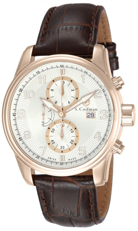 S. Coifman Men's Chrono Quartz Rose Gold Plated Case Brown Leather Watch SC0310
