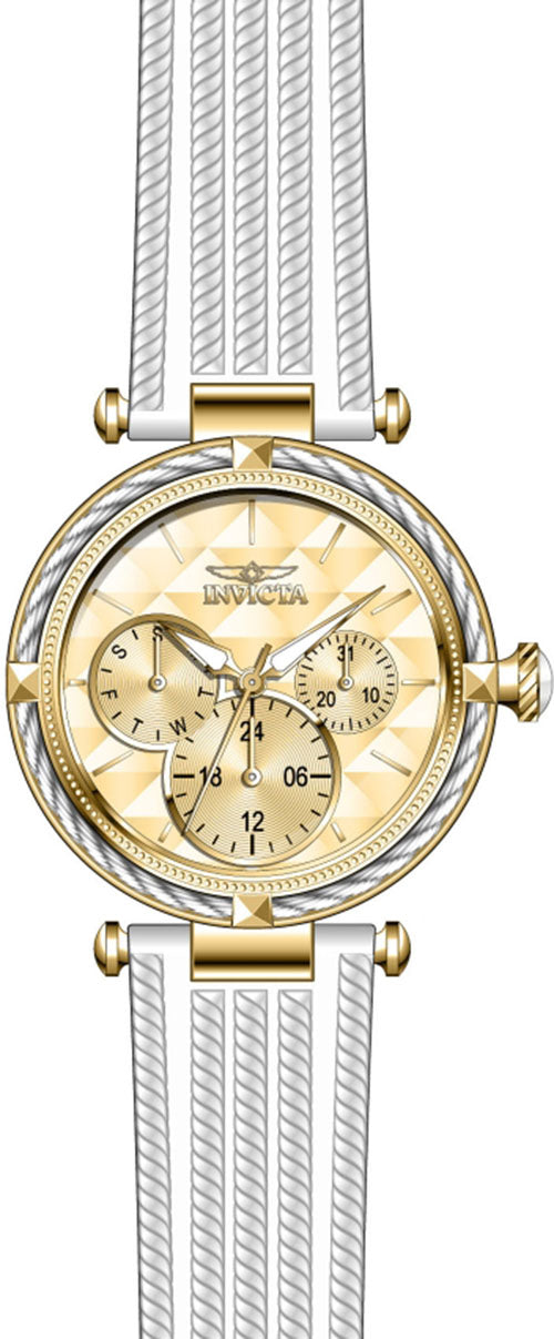 Invicta Women's Bolt Quartz 100m Stainless Steel/White Polyurethane Watch 28966