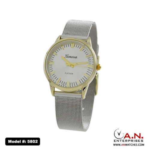 Geneva Two Tone Stainless Steel Mesh Band 5802