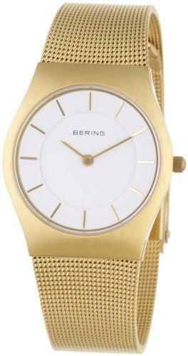 Bering Women's Classic White Dial Gold Tone Stainless Steel Mesh Watch 11930-334