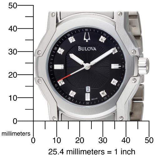 Bulova Men's 96D109 Diamond Black Dial Bracelet Watch