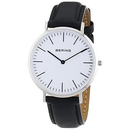 Bering Men's Classic Silver Tone Stainless Steel Black Leather Watch 13738-404