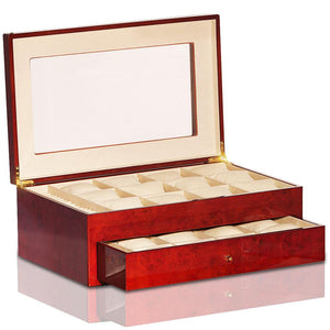 Steinhausen Golden Burlwood Wood Finish 24 Unit Watch Case