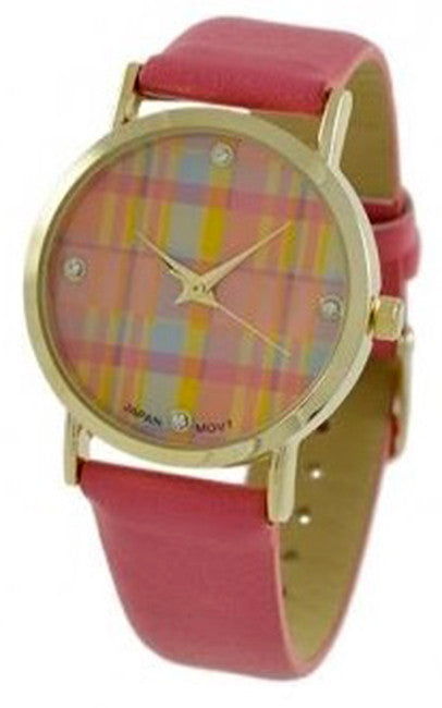 Geneva Platinum Women's Quartz Gold Tone Stainless Steel Pink Leather Watch 9884