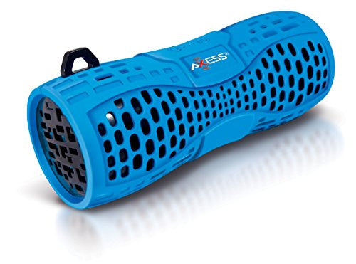 Axess SPBW1035-BL-BK Portable Water Resistant Bluetooth Loud Speaker System with Speakerphone to Answer your Calls! In Blue with Black Color