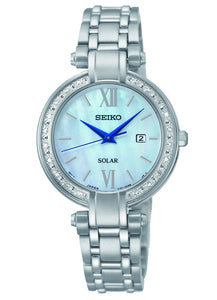 Seiko Women's Silver Tone Mother of Pearl Diamonds Dress Watch SUT181