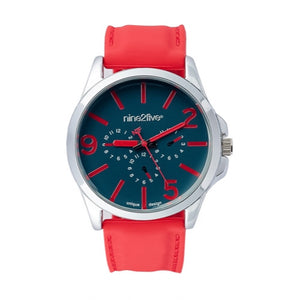 Nine2Five Men's Fearless Chronograph Alloy Case Red Silicone Watch AFSS08RJAZ