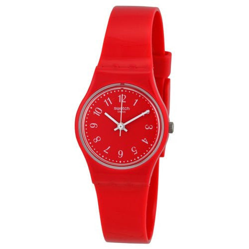 Original Swatch Red Pretty Sexy Red Dial Red Silicone Double Wrap Ladies Watch LR127