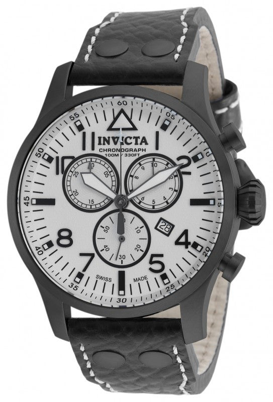 Invicta Men's Reserve Chronograph 100m Black Stainless Steel/Leather Watch 19755
