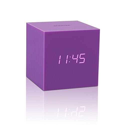Gingko Gravity Cube Click Clock Purple Alarm Clock 18PE