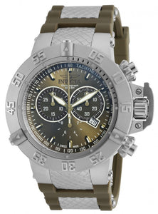 Invicta Men's Subaqua Chrono Stainless Steel Olive Green Silicone Watch 19338