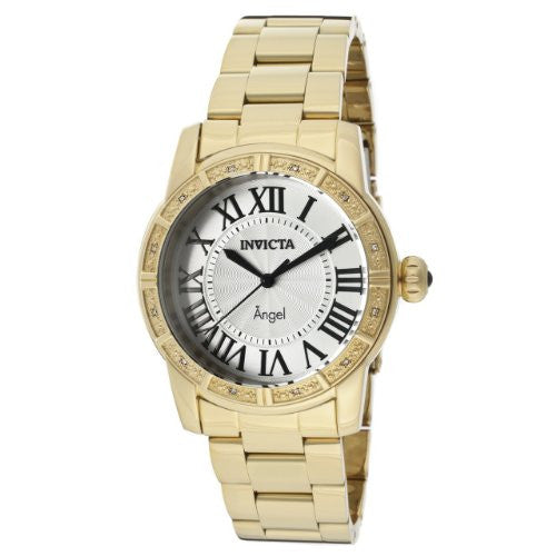 Invicta Women's 14374 Angel Silver Dial Diamond Accented 18k Gold Ion-Plated Stainless Steel Watch