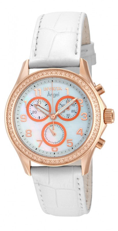 Invicta Women's Angel Chronograph Rose Gold Case White Leather Watch 12991