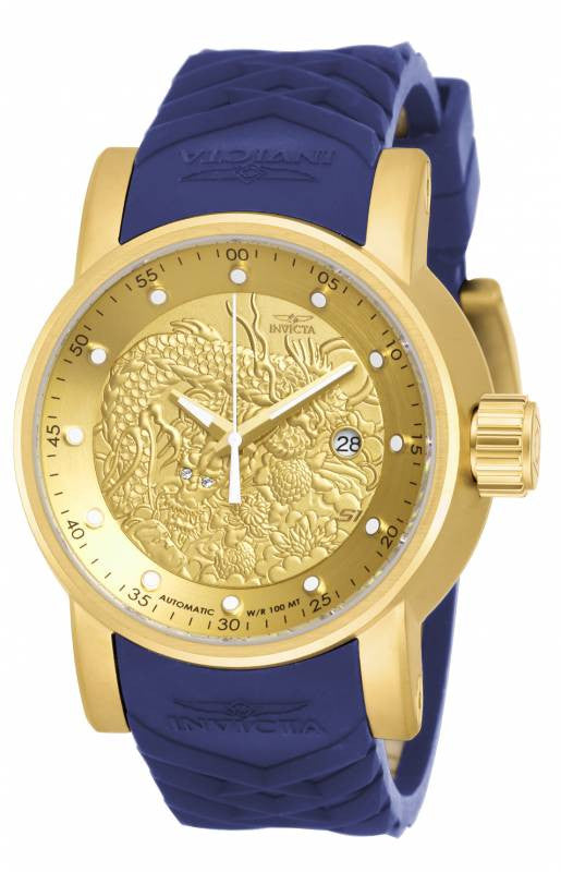Invicta Men's S1 Rally Automatic 100m Gold Plated Case Blue Silicone Watch 18215