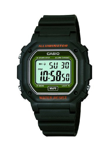 CASIO WATCH F108WH 30m Water Resistance Backlit Digital Watch with Black Resin Strap