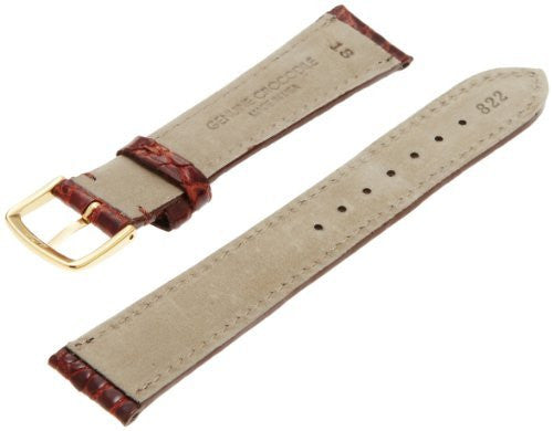 Hadley-Roma Men's MSM822RN-180 18-mm Chestnut Genuine Caiman Crocodile Leather Watch Strap