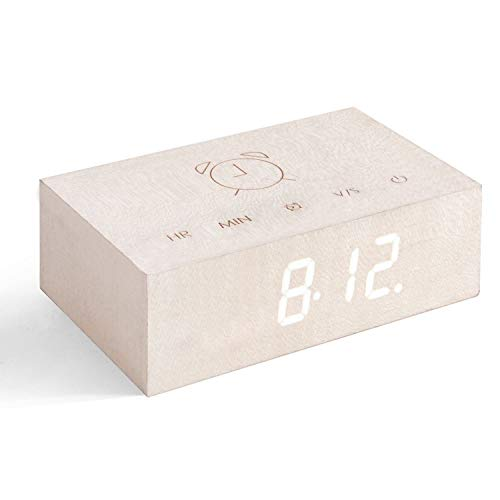 Gingko Flip Click Clock LED Alarm Clock Sound Activated White Maple
