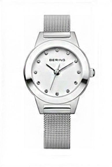 Bering Women's Classic Crystals Silver Tone Stainless Steel Mesh Watch 11125-000