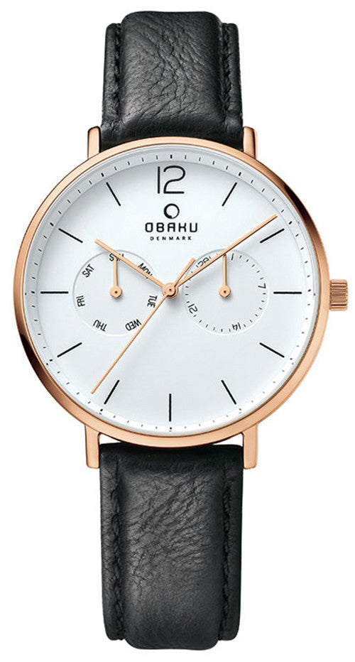 Obaku Men's Flod Chrono Rose Gold Tone S. Steel Black Leather Watch V182GMVWRB