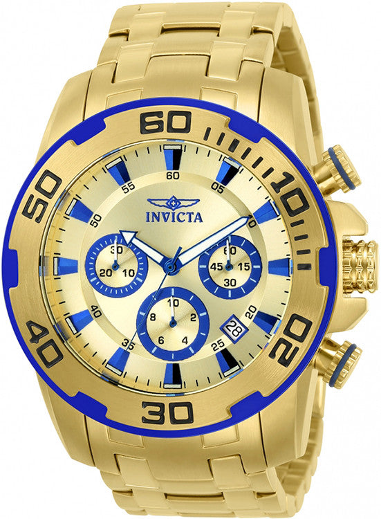 Invicta Men's Pro Diver Quartz Chronograph Gold Dial Stainless Steel Watch 22320