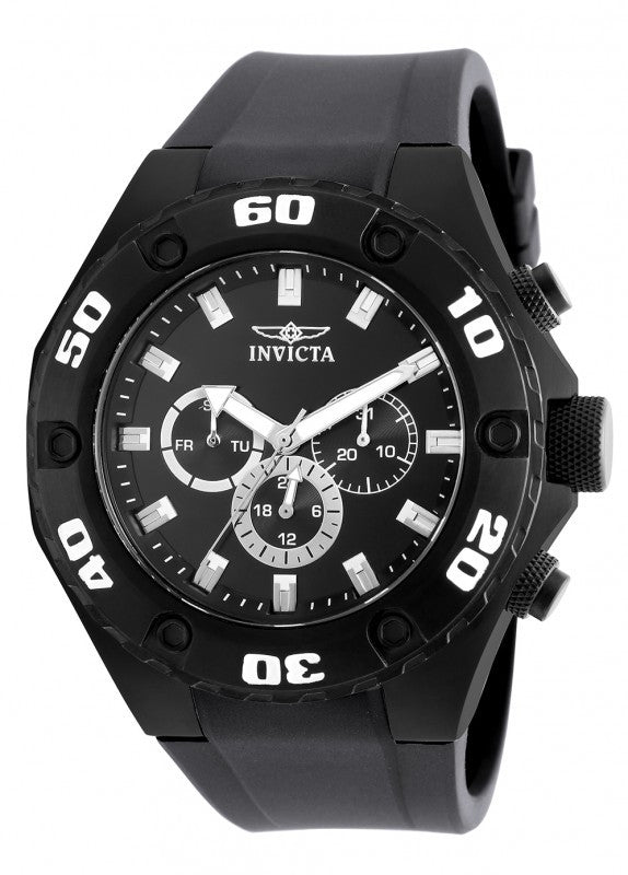 Invicta Men's Specialty Chronograph Black Stainless Steel, Silicone Watch 21459